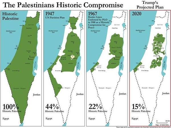 Lecsökkentené Palesztina területét a Trump-féle béketerv